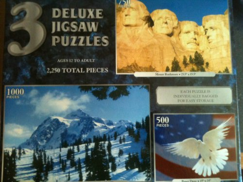 3 DELUXE JIGSAW PUZZLES Mount Rushmore 23.5 X 15.5, 50 pieces, Mount Shuksan 28.75 x 19.125 ( 1000 pieces) and Peace Dove 19 x 14 (50 pieces)