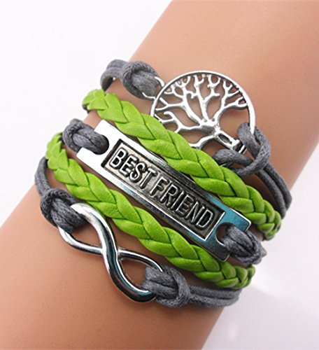 Handmade Infinity Best Friend Tree For Life Charm Friendship Gift Leather Bracelet