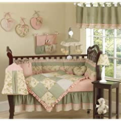 Annabel Sage Green Floral Antique Flower Baby Girl Bedding 9pc Crib Set by Sweet Jojo Designs