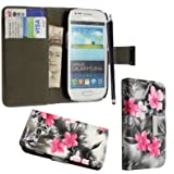 Case cover for Samsung Galaxy S3 mini i8190 Book / flip / wallet / PU leather / design / stripe / premium / stand (pink flower dark grey book)