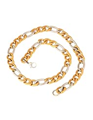 The Jewelbox Mens Stainless Steel Two Tone Gold Rhodium Plated Figaro Chain 21""
