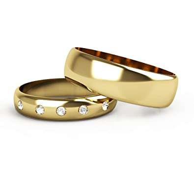 A Set Of His and Hers Diamond set 9ct Yellow Gold Wedding Rings.