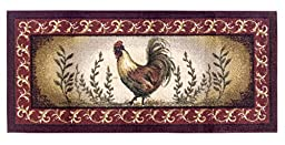 Brumlow Mills Prancing Rooster Kitchen Rug, 20-Inch by 44-Inch, Brick