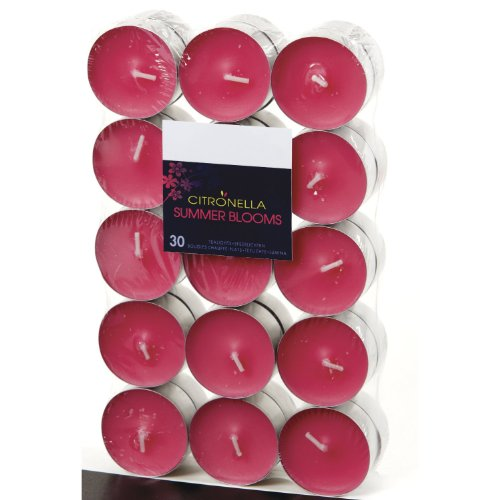 Citronella Pink Summer Blooms Soft Scented Tealight Candles Set of 30