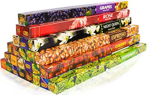 Räucherwerk-Discount - Bastoncini di incenso indiani assortiti, qualità premium originale, 25 diverse confezioni dal profumo fruttato al classico, confezioni extra XXL, fragranze: ad es. ananas, albicocca, punch alla frutta, lampone, gelsomino, caffè, ciliegia, lavanda, magnolia, mandarino, mandorle, muschio, erbe mistiche, chiodo di garofano, Night Queen, frutto della passione, patchouli, menta piperita, rosa, sandalo, cioccolato, uva, vaniglia, ylang-ylang, cannella