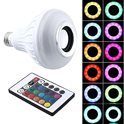 Next-shine E27 Multicolored RGB Lamps Bluetooth Music Bulb Wireless Stereo Audio Speaker LED Light with 24 Keys Remote Control,White