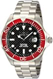 Invicta Pro Diver Men's Quartz Watch with Black Dial  Chronograph display on Silver Stainless Steel Bracelet 12565