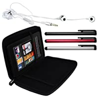 Skque Black Hard EVA Cover Case + Remote Earphone w/mic + Black/Silver/Red Touchscreen Stylus Pen for 2012 Barnes&Noble Nook HD Snow and Kindle Fire HD 7-Inch Display Tablets by Skque
