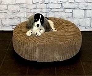 "Zippy Round Bean Bag Pet Dog Bed - 30"" diameter - Mocha Jumbo Cord Fabric - Beanbags from Zippy"