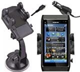 Mobilizers: 2 in 1 In Car Windscreen Suction Mount Holder Cradle With 360 Degree Rotation Feature + Car Charger Kit For NOKIA N8 / 500 / Lumia 710 / Lumia 800 / Lumia 900