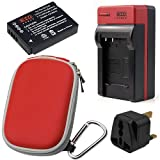EZOPower BCG10E Battery + AC Charger with EU/ Car Adapter + Red Eva Case for Panasonic Lumix DMC-TZ35, DMC-TZ30, DMC-ZS20K, DMC-ZS20S, DMC-ZS20W, DMC-ZS20R, DMC-ZR1 Digital Camera