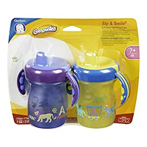 Gerber Graduates BPA Free 2 Pack Sip and Smile Spill Proof Cup, 7 Ounce, Colors May Vary