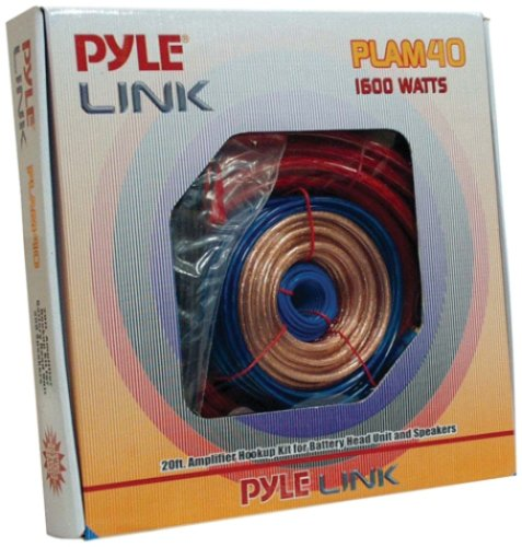Pyle PLAM40 20 Feet 4 Gauge 1600 Watt Amplifier Hookup For Battery Head Unit and Speakers Installation Kit