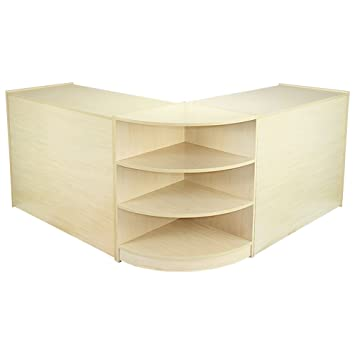 MonsterShop Venus Shop Counters Set & Retail Showcase Cabinet Display, Maple, Melamine MDF