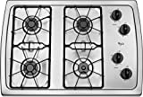 "Whirlpool W3CG3014XS 30"" Stainless Steel Gas Sealed Burner Cooktop"
