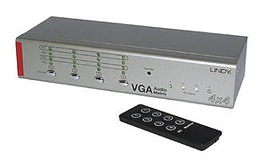 Lindy 32678 Commutateur matrix AV 4x4 VGA & audio stéréo avec télécommande