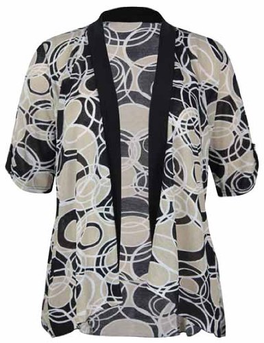 Womens New Printed Chiffon Short Sleeve Shrug Top Ladies Black Stretch Open Cardigan