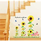 Generic DIY My Heart Sun Flowers 3D Design Wall Stickers Vinyl Decals Art Home Decor