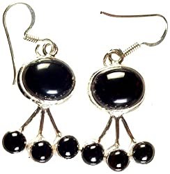 Exotic India Black Onyx Earrings - Sterling Silver