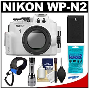 Nikon WP-N2 Waterproof Underwater Case Housing for 1 J3 & S1 Digital Camera & 10-30mm Lens with Battery + LED Torch Flashlight & Handstrap + Accessory Kit