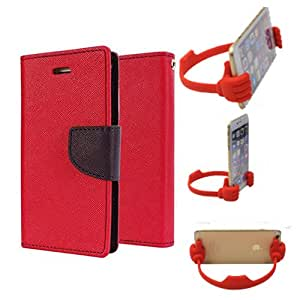 Aart Fancy Diary Card Wallet Flip Case Back Cover For Mircomax E311 - (Red) + Flexible Portable Mount Cradle Thumb Ok Stand Holder By Aart store