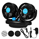 Oscillating Fan for Car with 12V Adapter for Household, Fan for Truck Car 2 Adjustable Speed 360° Rotatable Low Noise