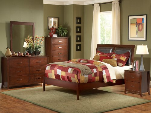 Rivera 5 Pc Upholstered California King Bedroom Set With Chest By Home Elegance In Brown Cherry