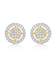 Mahi CZ Collection White Gold Plated CZ Stones Stud Earrings For Women-ER1193542G