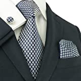 Landisun 91C Navy Blue Polka Dots Mens Silk Tie Set: Tie+Hanky+Cufflinks