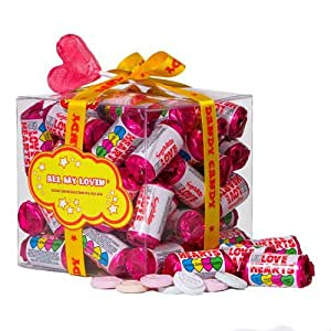 Mini Love Heart Rolls Gift Cube With Heart Lollipop - Ideal Valentines Gift or Wedding Favours