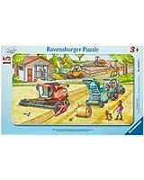 Ravensburger 06015 I mezzi della fattoria- Puzzle incorniciato da 15 pezzi
