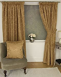 """Jacquard Floral Damask Gold 66x90"""" 168x229cm Lined Pencil Pleat Curtains Drapes from Curtains"""