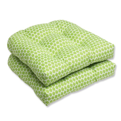 Pillow Perfect Outdoor Seeing Spots Julep Wicker Seat Cushion, Mint, Set of 2 picture