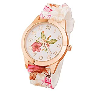 Solucky Women Silicone Printed Flower Causal Quartz Wrist Watches Pink