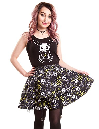 Killer Panda Thunder Pokemon Pikachu Cute Kawaii Anime Skater Dress nero Black X-Large