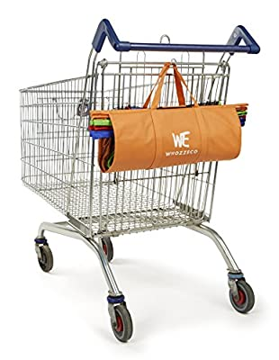 Trolley Bags Pack Of 4 with Insulated Cooler Bag - Eco Friendly Reusable Grocery Bags Perfect For Shopping Carts - Detachable, Foldable & Reusable!