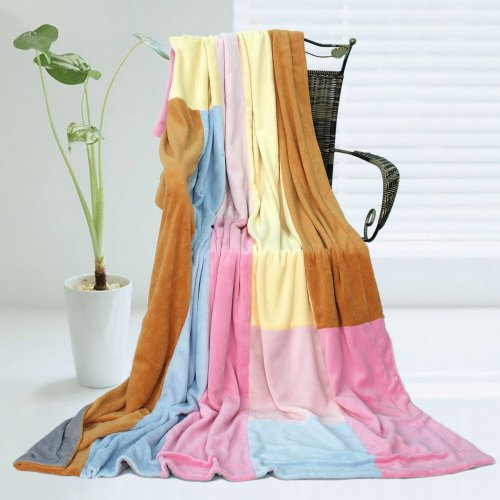 Onitiva - [Spring Breeze] Soft Coral Fleece Patchwork Throw Blanket (59 By 78.7 Inches) front-321089
