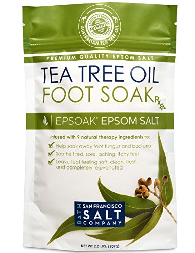 Tea Tree Oil Foot Soak with Epsoak Epsom Salt - 2 POUND (32oz) Value Bag - Fight Bacteria, Nail Fungus, Athlete's Foot & Unpleasant Foot Odor; Soften rough calluses & Soothe Tired, Achy Feet (Softer Feet compare prices)