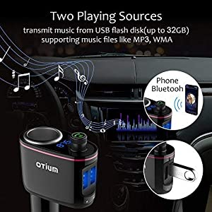 FM Transmitter/Cigarette Lighter Socket/USB Car Charger 3-in-1, Otium Bluetooth Car Adapter Wireless Audio Radio Receiver Music Modulator Car Kit Buil