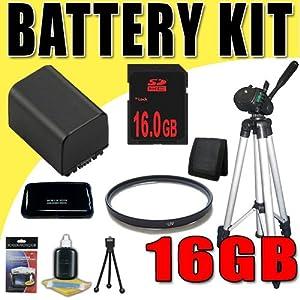 NPFV100 Lithium Ion Replacement Battery for Sony HDRTD10 HDR-TD10 DCRSR88 HDRCX110 HDRCX150 HDRCX350V HDRXR150V Handycam Camcorders DavisMAX 30mm UV Filter Tripod 16GB Bundle