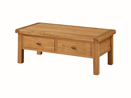Osaka Solid Oak Large Storage Coffee Table with Drawers - Finish : Medium Oak - Living Room Furniture