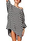 Sexy Women's Oversized Beach Dress Bikini Swimwear Cover-up (black white stripe) thumbnail