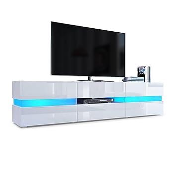 Meuble TV Armoire basse Flow en Blanc mat / Blanc laqué haute brillance avec éclairage LED