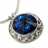 Crystal Framed Montana Blue Swarovski Pendant Necklace Fashion Jewelry