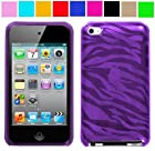 Purple Zebra Thin Protective Case for New Ipod Touch 4th Generation with Camera Suitable for 8G 32G 64G, Purple Zebra