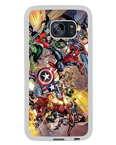 Samsung Galaxy S7 Edge Marvel Superheroes Sticker Bomb Spiderman Thor Wolverine White Shell Cover Case,Newest Case