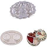 GS MUSEUM Silver Plated Rani Kumkum Plate, Silver Plated 2 RK Dibby Set And Handicraft Ganesh Chopda