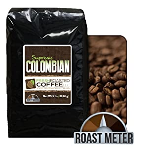 100% Colombian Supremo Coffee, 5 Lb. Bag, Whole Bean, Fresh Roasted Coffee LLC