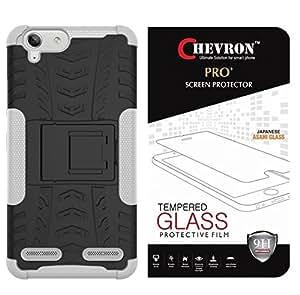 Chevron Tough Hybrid Back Cover Case with Kickstand for Lenovo Vibe K5 Plus / Lenovo Vibe K5 With Pro+ 0.3m Tempered Glass (White)