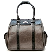 Ladies Grey Black Leather Like Rolling Computer Laptop Bag Brief Case